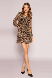 Brown Leopard Mini Dress by Lavender Brown 001