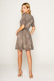 NEUTRAL CHEETAH SHORT SLEEVE WRAP DRESS-DRESSES-Lavender Brown