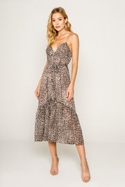 Neutral Cheetah Print Midi Dress With Ruffle 01