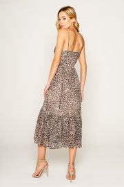Neutral Cheetah Print Midi Dress With Ruffle 02