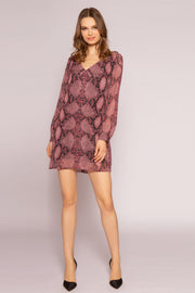 Burgundy Snakeskin Long Sleeve Dress by Lavender Brown 001