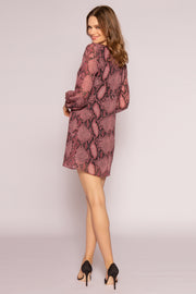 Burgundy Snakeskin Long Sleeve Dress by Lavender Brown 002