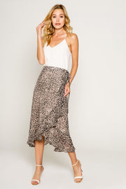Neutral Cheetah Print Warp Skirt With Ruffle 01