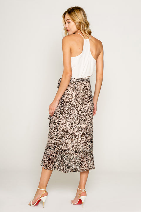 Neutral Cheetah Print Warp Skirt With Ruffle 02