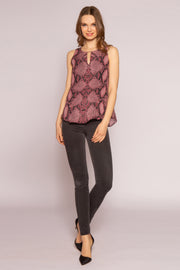 Burgundy Snakeskin Button-Down Shirt by Lavender Brown 001