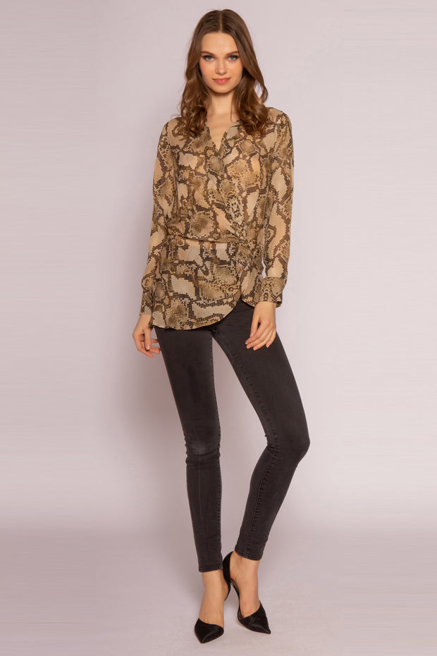 Camel Snakeskin Twist Blouse by Lavender Brown 001