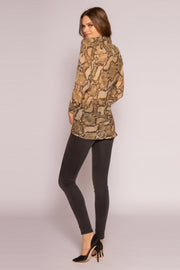Camel Snakeskin Twist Blouse by Lavender Brown 002