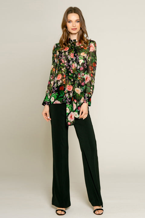 Black Floral Print Long Sleeve Blouse by Lavender Brown 001