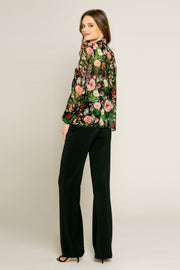 Black Floral Print Long Sleeve Blouse by Lavender Brown 002