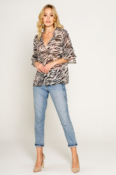 Zebra Printed Elbow Sleeve Top w/Ruffle 1