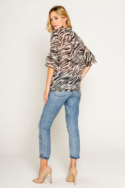 Zebra Printed Elbow Sleeve Top w/Ruffle 2