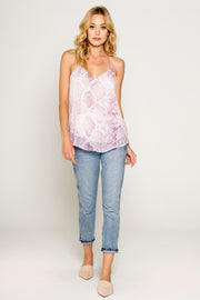 Pink Snake Printed Cami-Tops-Lavender Brown