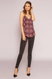 Burgundy Snakeskin Cami Top by Lavender Brown 001