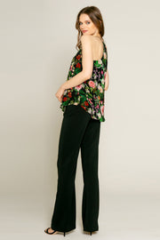 Black Floral Print Cami Top by Lavender Brown 002