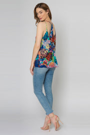 Blue Racerback Floral Cami Top by Lavender Brown 002
