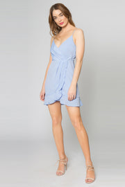 Sky Blue Adjustable Strap Faux Wrap Silk Blend Dress by Lavender Brown 001