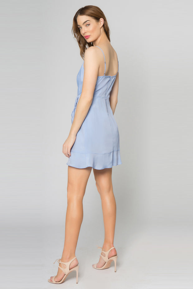 Sky Blue Adjustable Strap Faux Wrap Silk Blend Dress by Lavender Brown 002
