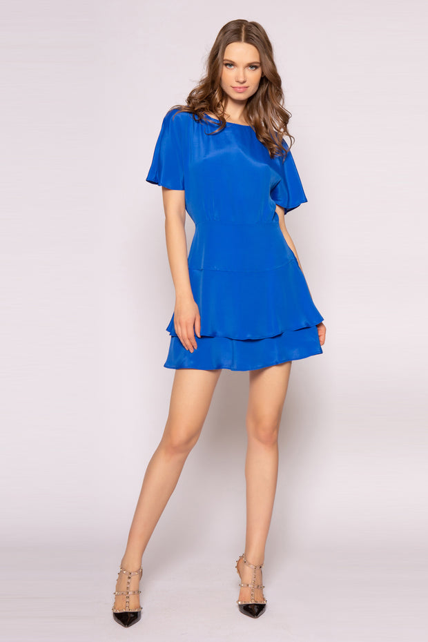 Sapphire Blue Short Sleeve Silk Mini Dress by Lavender Brown 001