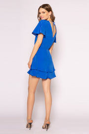 Sapphire Blue Short Sleeve Silk Mini Dress by Lavender Brown 002