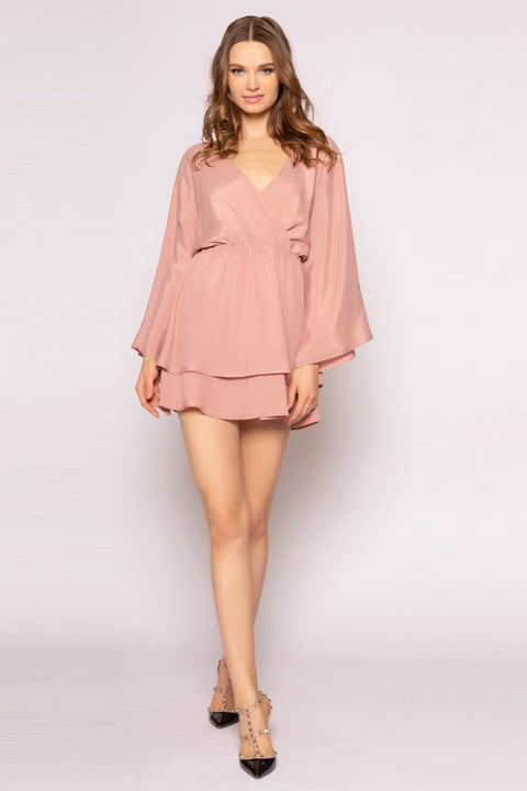 Dusty Rose Long Sleeve Silk Mini Dress by Lavender Brown 001