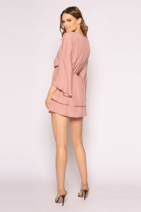 Dusty Rose Long Sleeve Silk Mini Dress by Lavender Brown 002