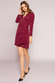 Burgundy Long Sleeve Silk Wrap Dress by Lavender Brown 001