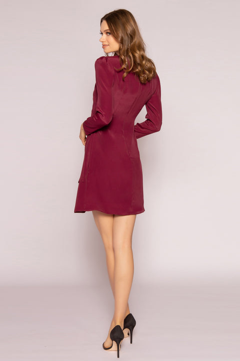 Burgundy Long Sleeve Silk Wrap Dress by Lavender Brown 002