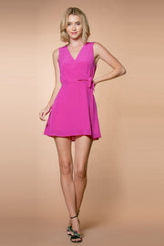 Dusty Fuchsia Silk Blend A-Line Wrap Dress by Lavender Brown 001