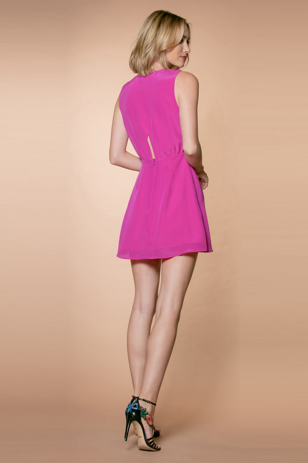 Dusty Fuchsia Silk Blend A-Line Wrap Dress by Lavender Brown 002