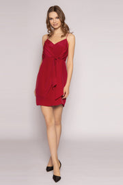 Deep Red Tie Waist Silk Mini Dress by Lavender Brown 001