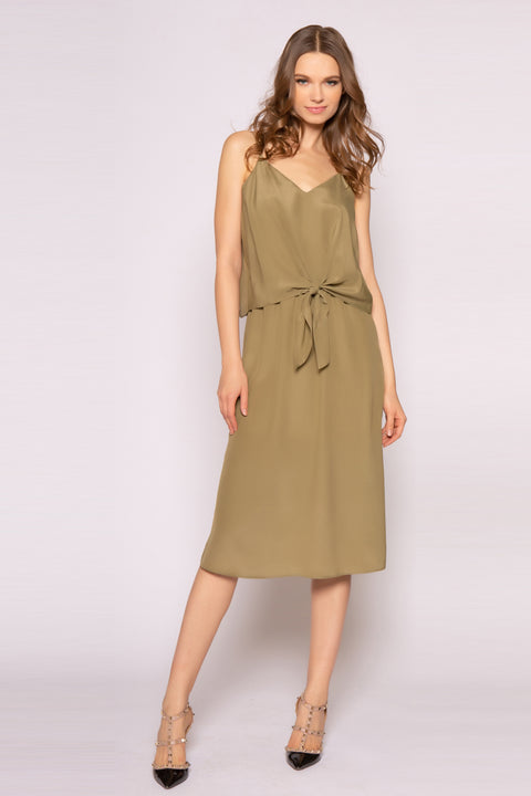 Army Green Tie Waist Silk Midi Dress by Lavender Brown 001