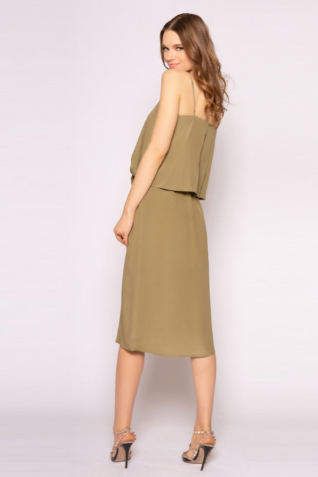 Army Green Tie Waist Silk Midi Dress by Lavender Brown 002