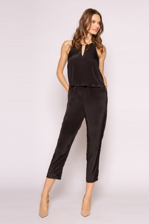 Black Sleeveless Overlay Silk Jumpsuit by Lavender Brown 001