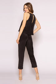 Black Sleeveless Overlay Silk Jumpsuit by Lavender Brown 002