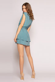 Dusty Slate Blue Faux Wrap Silk Mini Dress by Lavender Brown 001