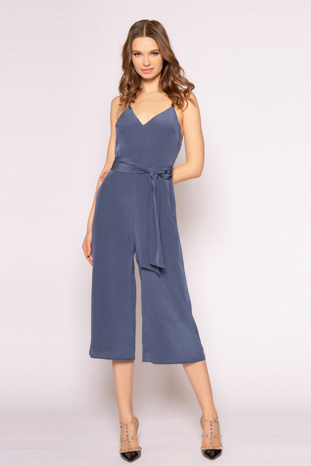 Denim Blue Sleeveless Tie-Waist Silk Jumpsuit by Lavender Brown 001