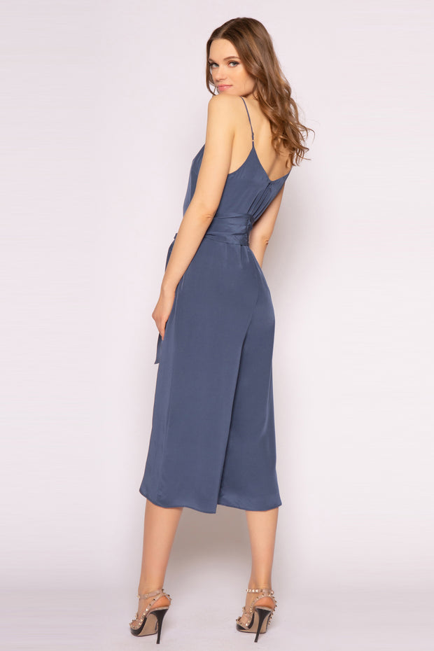 Denim Blue Sleeveless Tie-Waist Silk Jumpsuit by Lavender Brown 002