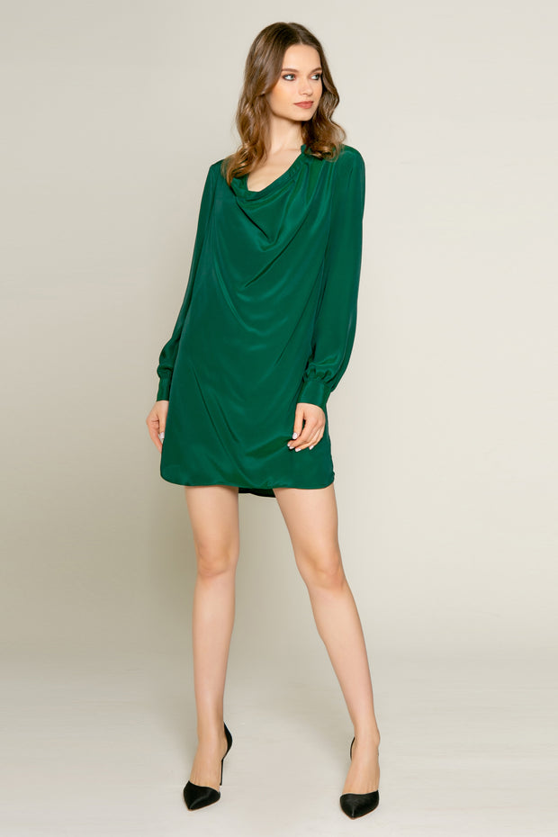 Hunter Green Cowl Neck Silk Shift Dress by Lavender Brown 001