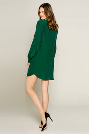 Hunter Green Cowl Neck Silk Shift Dress by Lavender Brown 002