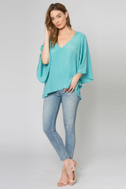 Aqua Bell Sleeve Silk Blend Blouse by Lavender Brown 001