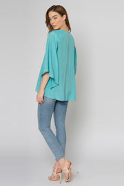 Aqua Bell Sleeve Silk Blend Blouse by Lavender Brown 002