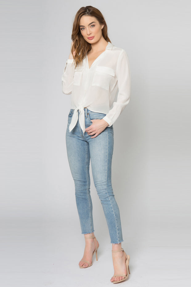 Ivory Long Sleeve Button Down Silk Blend Top by Lavender Brown 001