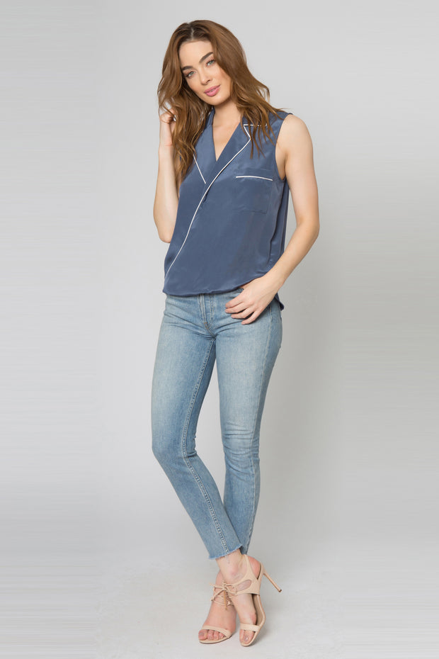 Denim Blue Sleeveless Silk Blend Wrap Tank Top With Collar Top by Lavender Brown 001
