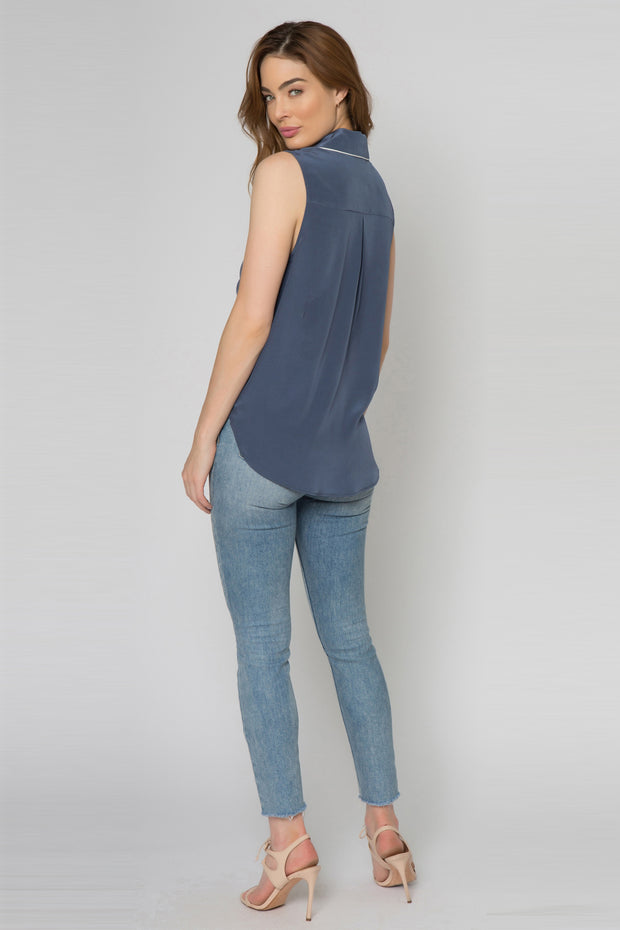 Denim Blue Sleeveless Silk Blend Wrap Tank Top With Collar Top by Lavender Brown 002
