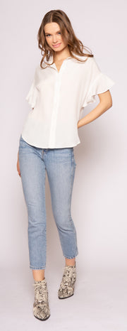 Ivory Cap Sleeve Button-Down Silk Top by Lavender Brown 001