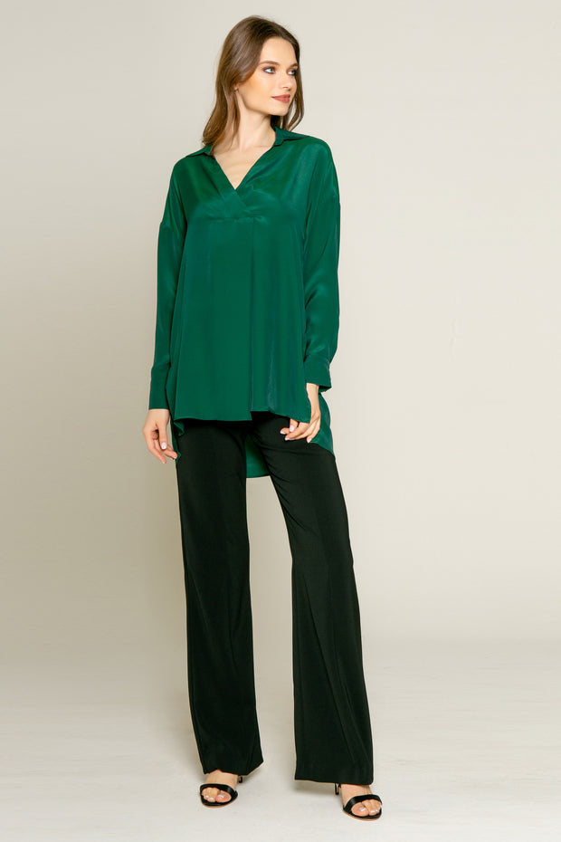 Hunter Green Long Sleeve Pullover Silk Shirt by Lavender Brown 001