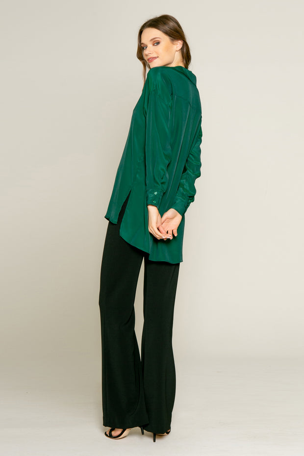 Hunter Green Long Sleeve Pullover Silk Shirt by Lavender Brown 002