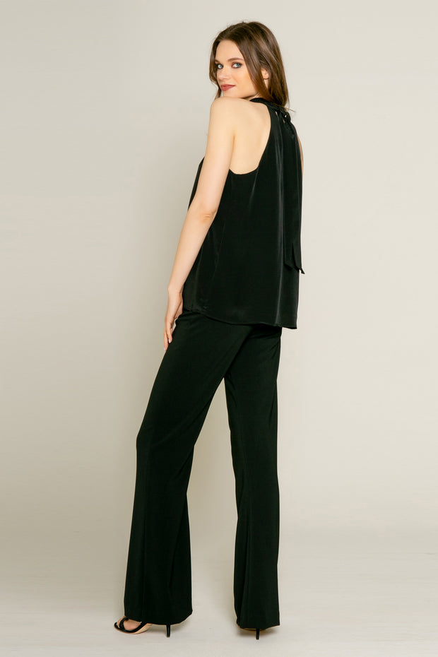 Black Sleeveless High Neck Silk Top by Lavender Brown 002