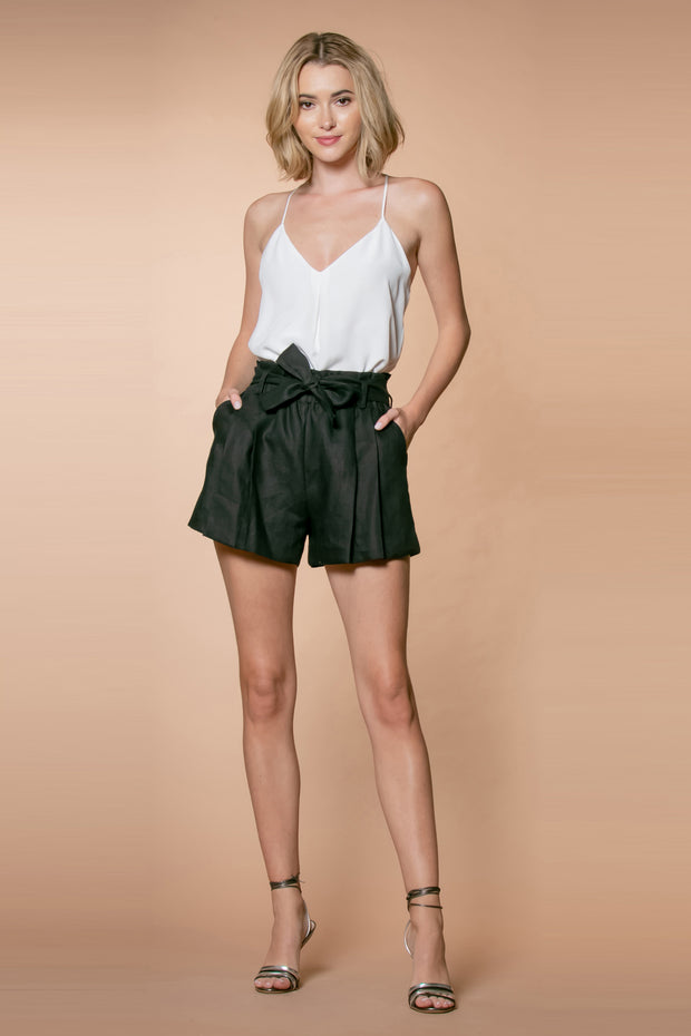 Black Linen Paperbag Shorts by Lavender Brown 001