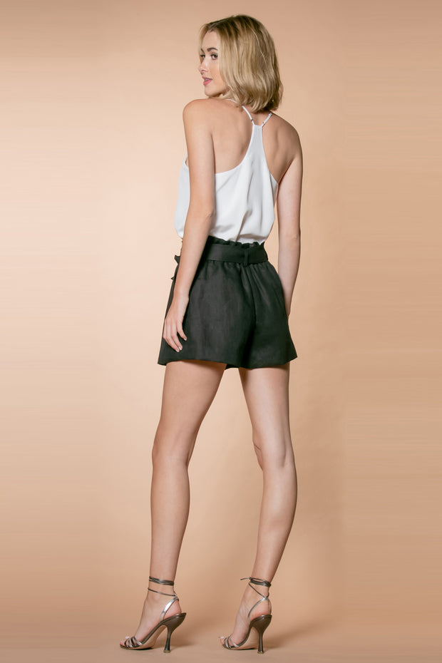 Black Linen Paperbag Shorts by Lavender Brown 002